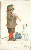 1913 Cold Hobo Boy Child Dog Flute Music Sowerby Artist Signed Postcard