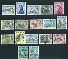 DOMINICA 1963 QEII PICTORIALS long set (Scott 164-80) F/VF USED