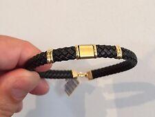 18K Yellow Gold 750 Man´s Leather cord Bracelet