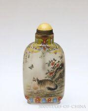 "3.1"" Old Handmade Inside Painted Enamel Glass Snuff Bottle ""Cat & Cock"""
