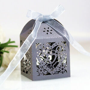 10pcs/set Love Heart Laser Candy Hollow Carriage Favors Gifts Candy Boxes Bags