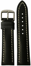 22x18 RIOS1931 for Panatime Black Vintage Watch Strap w/Buckle for Breitling