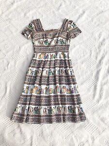 Vintage 1950s 1960s Egyptian Print Cotton Dress