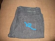 MEN'S ROCAWEAR SHORTS SIZE 40 BLACK JEAN SHORTS BLUE EMBLEM