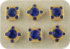 "2 Hole Beads ""Stardust Gala"" Sapphire Blue Swarovski Crystal Elements GOLD QTY 6"
