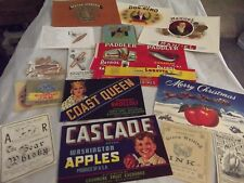 Huge Group-Lot Vintage Product Labels-Cigar-Fruit-Broom-Artwork-Juice-Vegetables