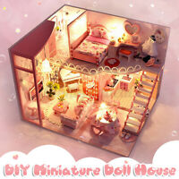 DIY LED Musik Puppenhaus Miniatur Möbel Sets Puppenhaus Valentine's Tag