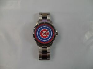 Chicago Cubs Men's Stainless Steel Chrome Wrist Watch
