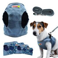 Soft Denim Dog Harness & Leash Pet Puppy Walking Vest Cat Jean Clothes S M L XL
