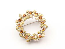 Vintage Czech amber jonquil glass rhinestone floral wreath pin brooch