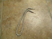 """18""""  Delightful Vintage Navajo Sterling Silver PEARLS Bead Necklace on Foxtail"""