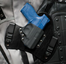 Smith and Wesson SHIELD Black Leather Kydex Gun Holster IWB Tuck Concealed