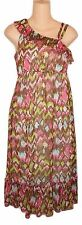 Emily West Girls Size 16 Long Ruffled Dress Lined Brown Pink Print NEW NWOT