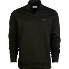 Greg Norman Mens Golf Sweater Black Small S Herringbone Fleece Full-Zip $70 045