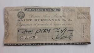 ARGENTINA script Saint Hermanos token 2 pesos check WWII 1940 chocolate c° ficha