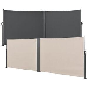 Doppel Seitenmarkise Sichtschutz 160/180x600 Seitenwand Sonnenschutz Windschutz