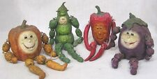 Vintage Set 4 Anthro Vegetable People Jointed Limbs 1990s
