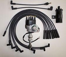 FORD 351C/M-400-429-460 BLACK Small HEI Distributor + Black 45K Coil +PLUG WIRES