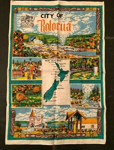 Vintage City Of Rotorua New Zealand Tea Towel 100% linen (made in Hong Kong)