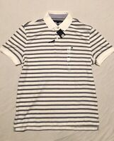 Tommy Hilfiger Men's Short Sleeve Polo Shirt White Grey Blue Striped Size Medium