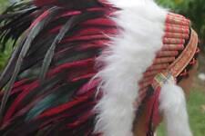 Native Superking Red Headband Hat Feather Costume Handmade Warbonnet Headdress