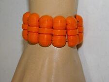 Vintage Early Plastic Celluloid Coral Melon color Wide Stretch Bracelet 10h 95