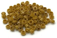 Lego 100 New Pearl Gold Plates Round 1 x 1 with Open Stud Pieces