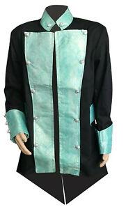 Men`s Gothic Steampunk Balck & Blue Tailcoat Victorian Coat size : L