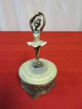 Ballerina Music Trinket Box Metal, Bronze Finish, Enamel