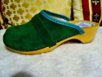 Women's Green Swedish style Wood Clogs Suede Leather EU Size 36-45 Poland