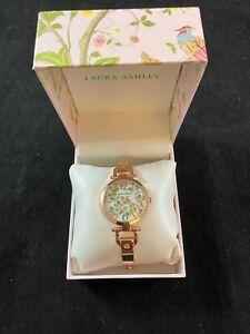 BNIB LAURA ASHLEY Women's Gold mini Link Crystal Bezel Bracelet Watch RRP £303