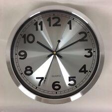 acier inox Horloge murale Klassic ronde MONTRE DESIGN quartz chiffres Argent