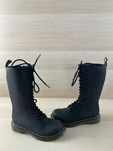 Dr. Martens 1914 J Black Leather Lace Up/Side Zip Mid Calf Boots Girl's Size 1