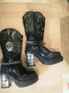 New Rock Platform Cowboy style leather boots with chunky heels Size UK6