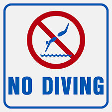 "No Diving Sign (Blue and Red) 10""x10"" Plastic sign"