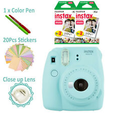 Fuji instax mini 9 Ice blue Fujifilm instant camera + 40 film + stickes AU Gift