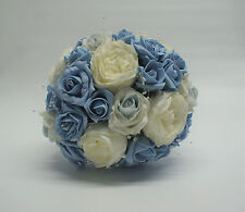 Bridal Wedding Bouquet with Light Blue and White Roses and Pearls