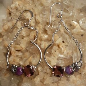 "Sterling Silver Overlay Bronze Purple Turquoise Amethyst 2"" Dangle Earrings"