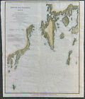 Hand Colored, Original, 1864 Chart of Booth Bay Harbor, Maine