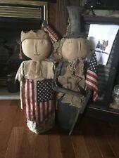 Primative Patriotic Dolls With Flag Handmade