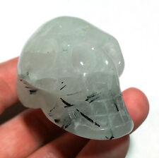 Black Tourmaline in White Quartz 45mm Crystal Stone Specimen Skull Carving