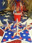 Patriotic Napkin Rings 4 Rhinestone Shimmer Star July 4th Beaded Red White Blue