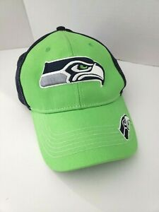 Seattle Seahawks Hat Cap NEW Bright Green Blue Embroidered NFL One Size Adjust