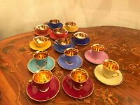 Vintage 13 Cups and Saucers Epiag BES Germany Gold Plated Porcelain Coffee Set