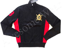 New Ralph Lauren Polo Cotton Blend Black w/ Red Crested Half Zip Sweater Slim L