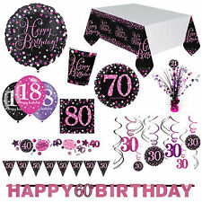 Pink Sparkle Celebration Birthday Party Supplies Decorations Plates Cups Listing