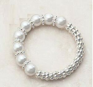Gallo Bracelet silver plated with acrylic pearl-look beads by Avon NEW boxed
