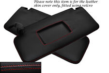 RED STITCHING FITS AUDI A4 CABRIO CONVERTIBLE 03-06 2X SUN VISORS LEATHER COVERS