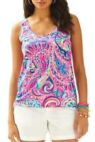 LILLY PULITZER Kinsey Psychedelic Sunshine Sleeveless Tank Top T-shirt