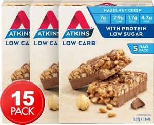3 x Atkins Low Carb Day Break Bars Chocolate Hazelnut Crisp 37g 5pk